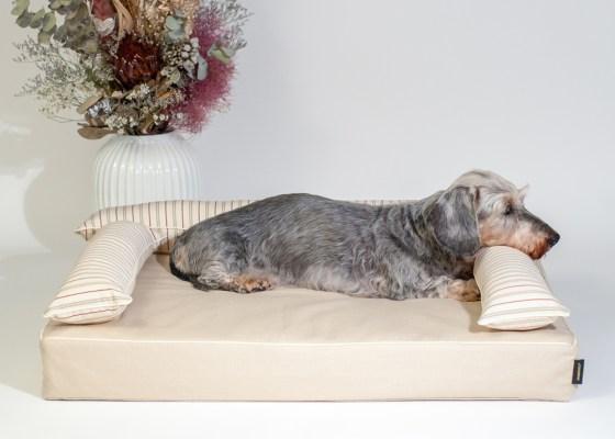 クッション付きベッドカバー:ファビア(グレージュ・ストライプ)|犬のベッド:アンベルソ