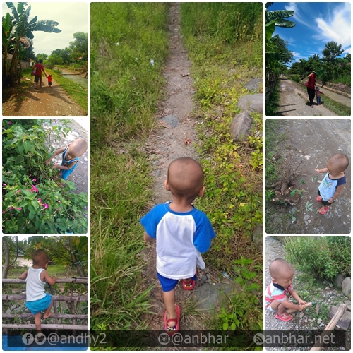 Menjelajah dunia luar. Melihat pohon pisang, sungai, mencari bola rimbun bunga, memanen ubi, mencangkul :D