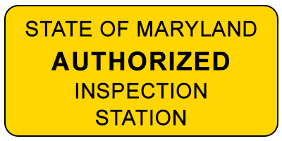 Maryland State Inspection Station Sign
