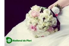 Buchet de mireasa trandafiri albi