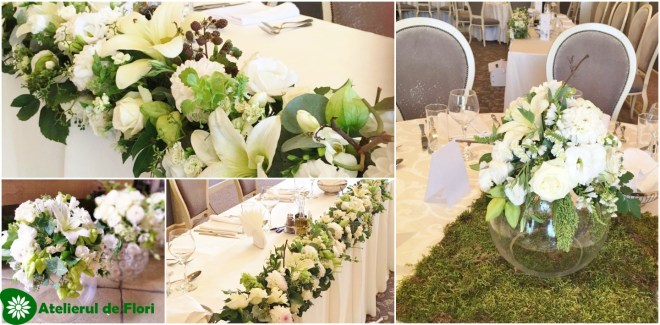 Aranjamente nunti flori albe