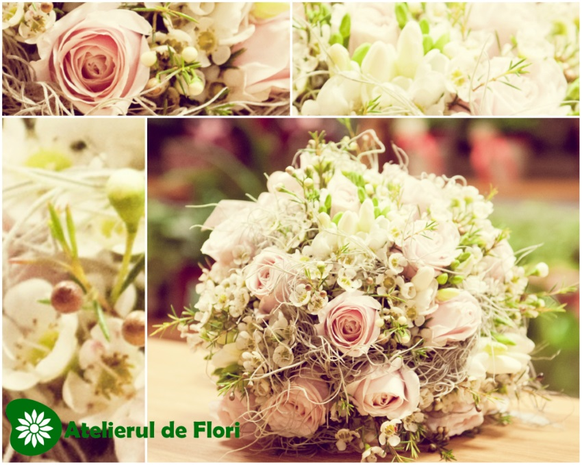 buchet-de-mireasa-pastel-trandafiri-frezii-waxflower