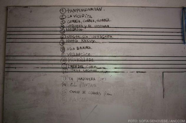 Una lista de temas en un pizarrón que tiene las 5 líneas del pentagrama