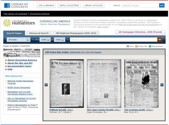 Main page of the Chronicling America website
