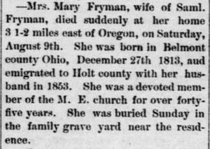 Death of Mrs. Mary Fryman