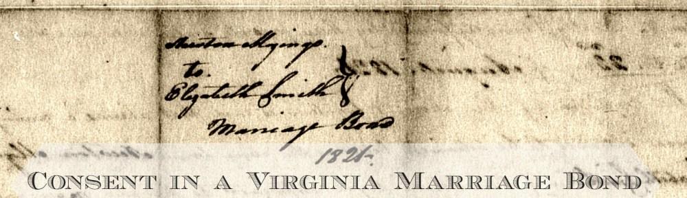 Mozingo-Smith 1821 Virginia Marriage Bond
