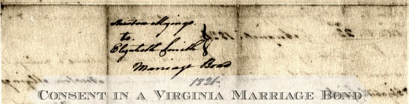 Mozingo-Smith 1821 Virginia Marriage Bond