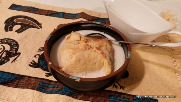 Apple Dumpling with milk