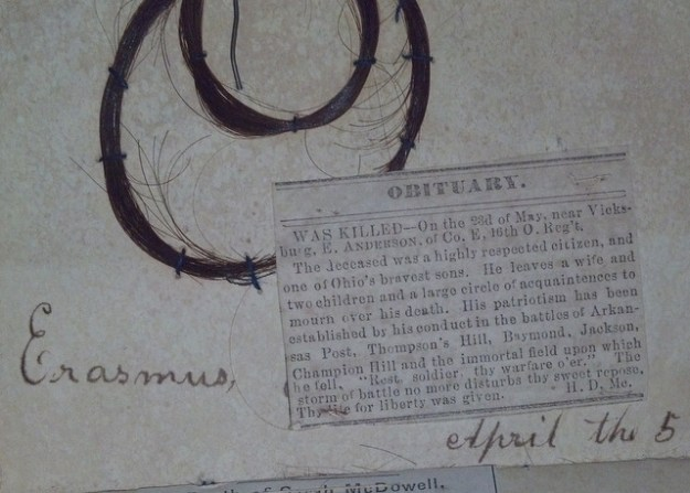 Erasmus obituary and lock of hair