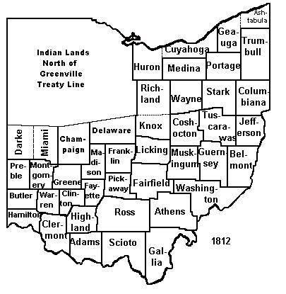 1812 map of Ohio counties
