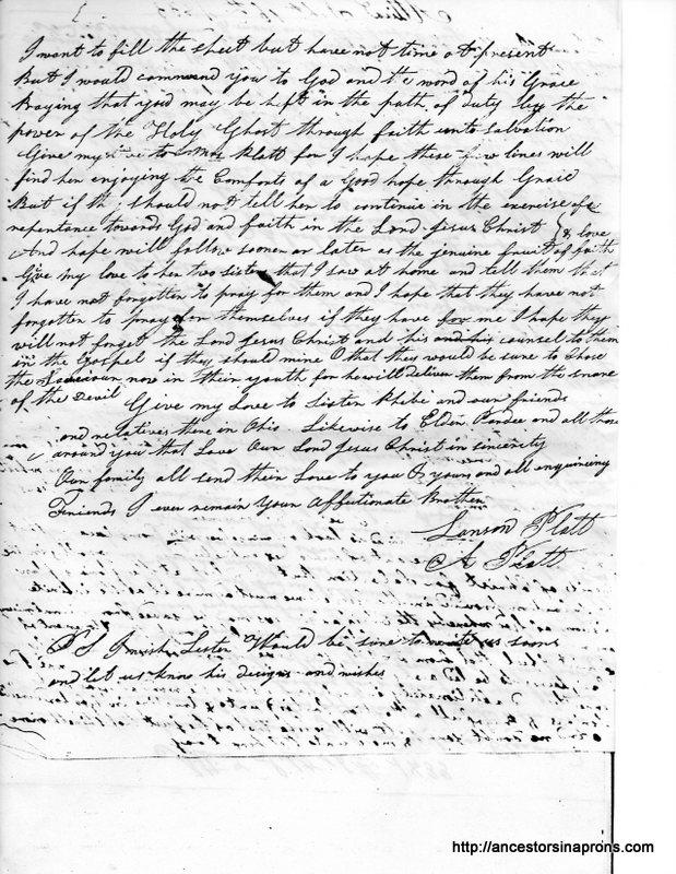 Alanson Platt to Asahel 1833 pg 2