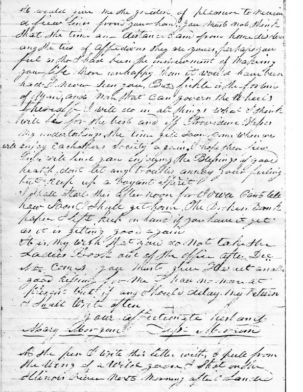A Letter Home from Jesse Morgan