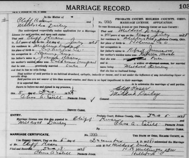 Marriage License-Cliff Kaser