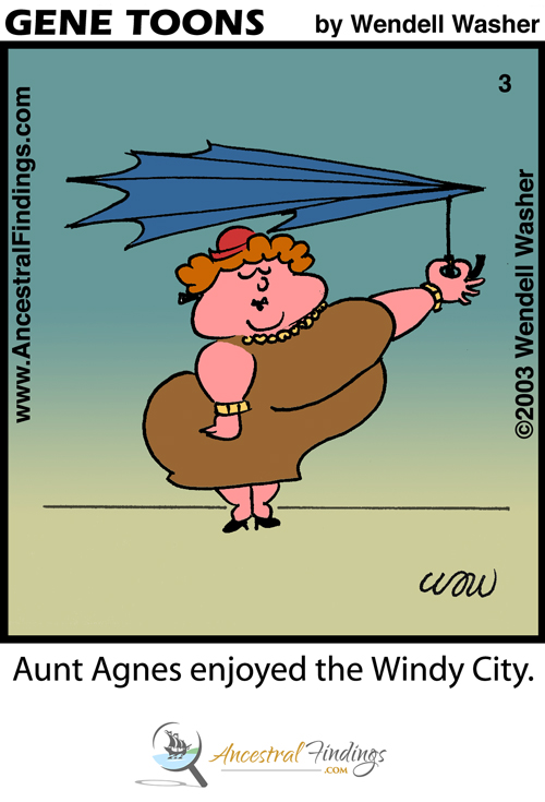 Aunt Agnes Enjoyed The Windy City (Genetoons Cartoon #003)