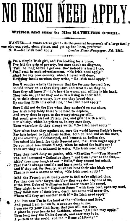 London version of NINA song, Feb. 1862