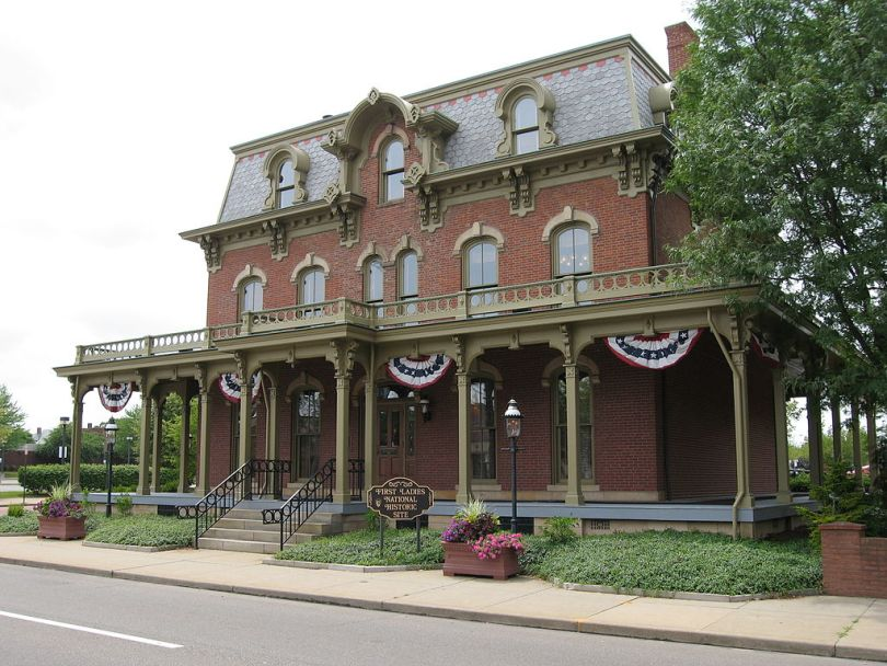Photograph of the Saxton House, former home of Ida Saxton McKinley, at the First Ladies National Historic Site in Canton, Ohio, United States, as taken on 25 June 2006 by Dustin M. Ramsey.
