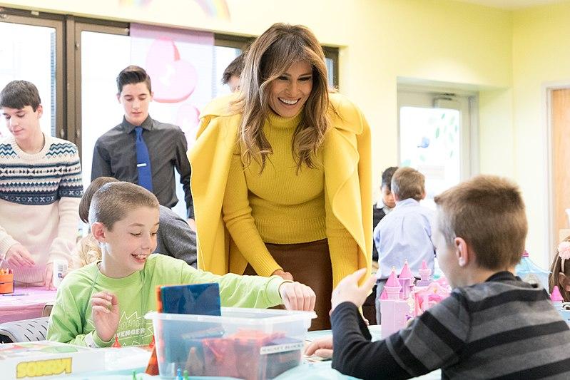 Melania Trump visiting the Cincinnati Children's Hospital in February 2018