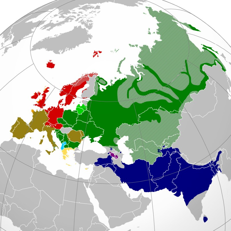 Indo-European Branches Map (Wikimedia)