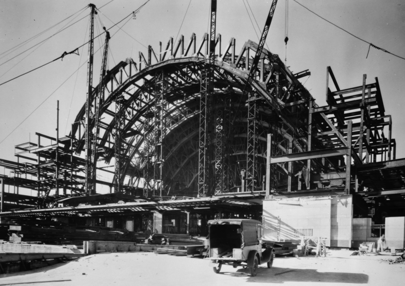 Structural framing of the dome during construction