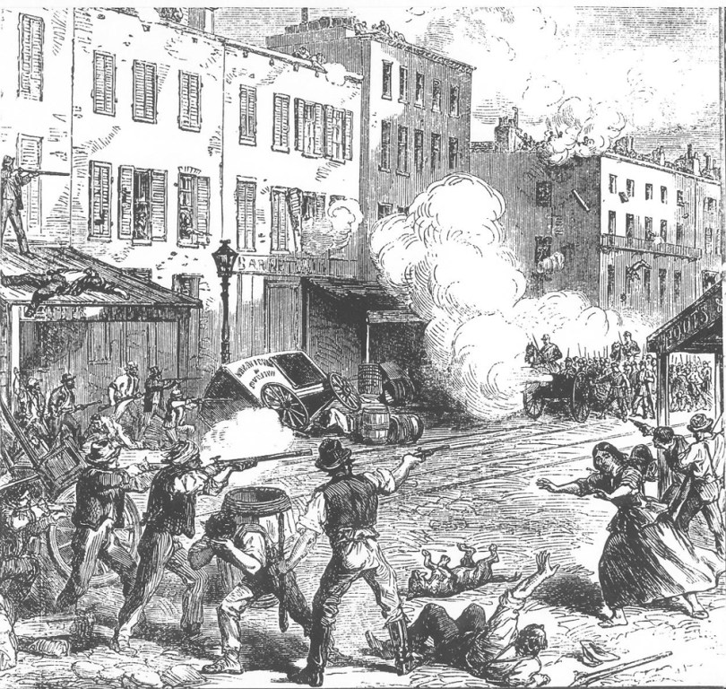 Depiction of the New York Draft Riots in 1863.