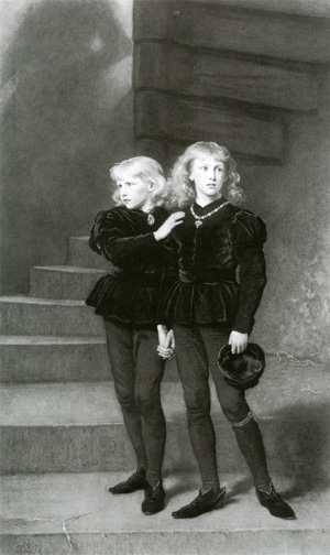 The Princes in the Tower, by Samuel Cousins (died 1887), after Sir John Everett Millais (original 1878). Mezzotint. National Portrait Gallery (RN37073).