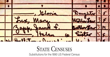 State Censuses: Substitutes for the 1890 US Federal Census