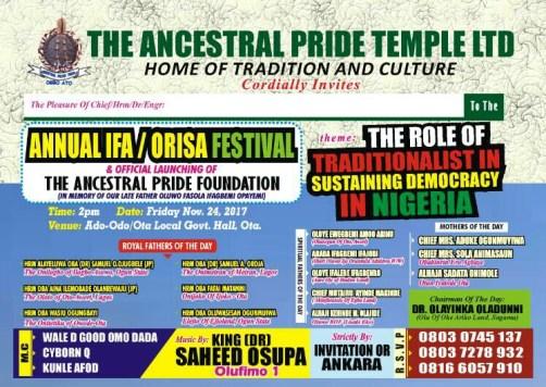 Ifa-orisa festival 2017