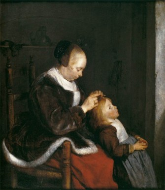 Mujer peinando a su hija o Caza de piojos