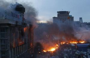 General view shows clashes at Independence Square in Kiev