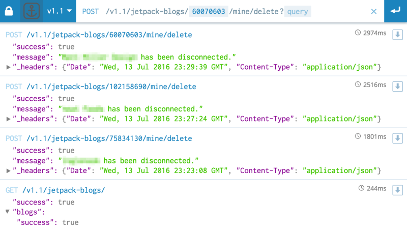 Disconnecting from Jetpack via API