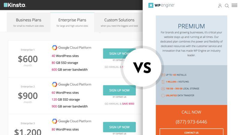 WP Engine vs Kinsta comparing bulk site economics