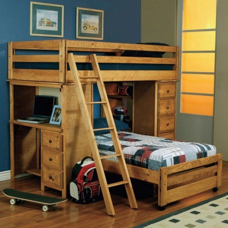 Bunk Beds with Wooden Wall Design 12