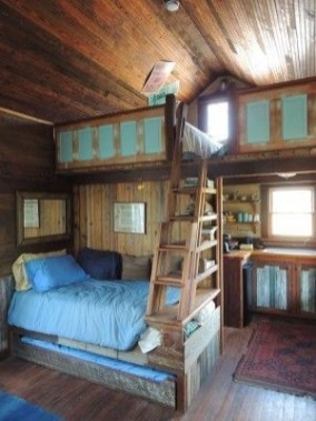 Bunk Beds with Wooden Wall Design 28