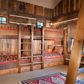Bunk Beds with Wooden Wall Design 33