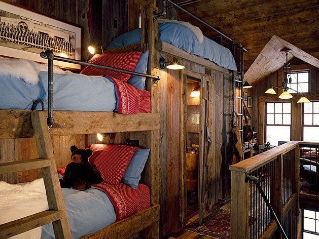 Bunk Beds with Wooden Wall Design 34