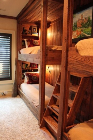 Bunk Beds with Wooden Wall Design 35