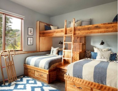 Bunk Beds with Wooden Wall Design 45