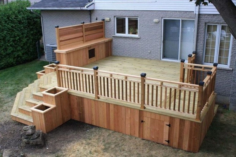 Easy DIY Wooden Deck Design For Backyard 01