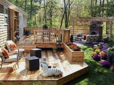 Easy DIY Wooden Deck Design For Backyard 23