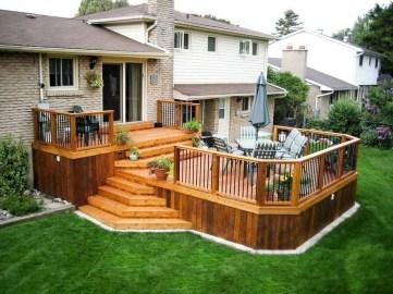 Easy DIY Wooden Deck Design For Backyard 27
