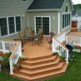 Easy DIY Wooden Deck Design For Backyard 41