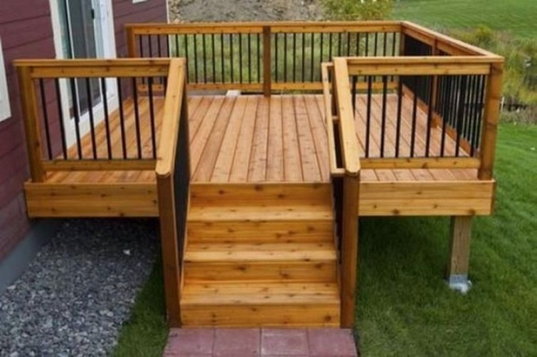 Easy DIY Wooden Deck Design For Backyard 43