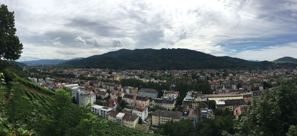 View from Schlossberg, a steep hill in the middle of the city that provides a great view of the city below and the Black Forest in the distance.
