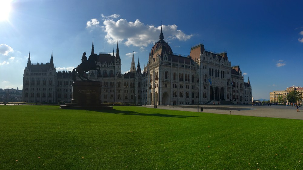 A photo of the Hungarian Parliament Building in Budapest.
