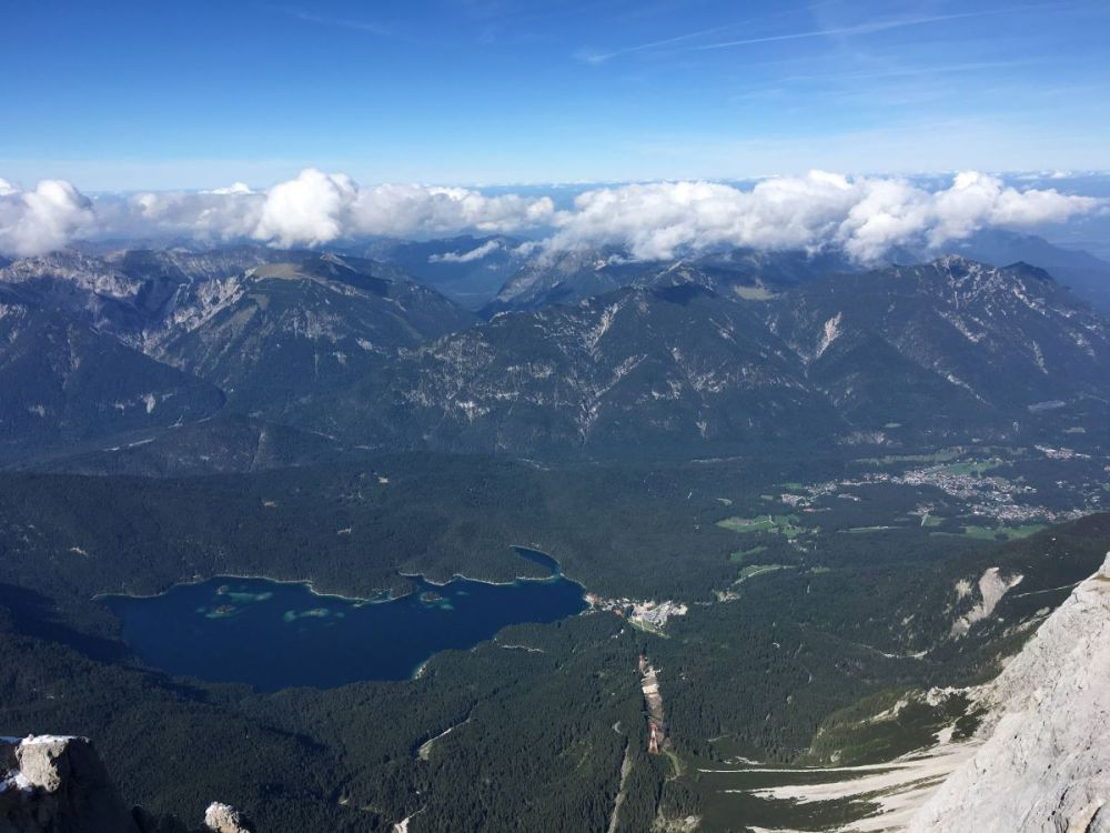Views of the mountains from the Zugspitze cable car