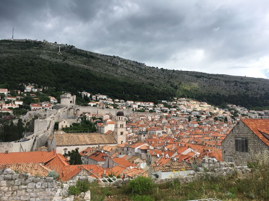 The terracotta rooftops from the city walls in Dubrovnik.