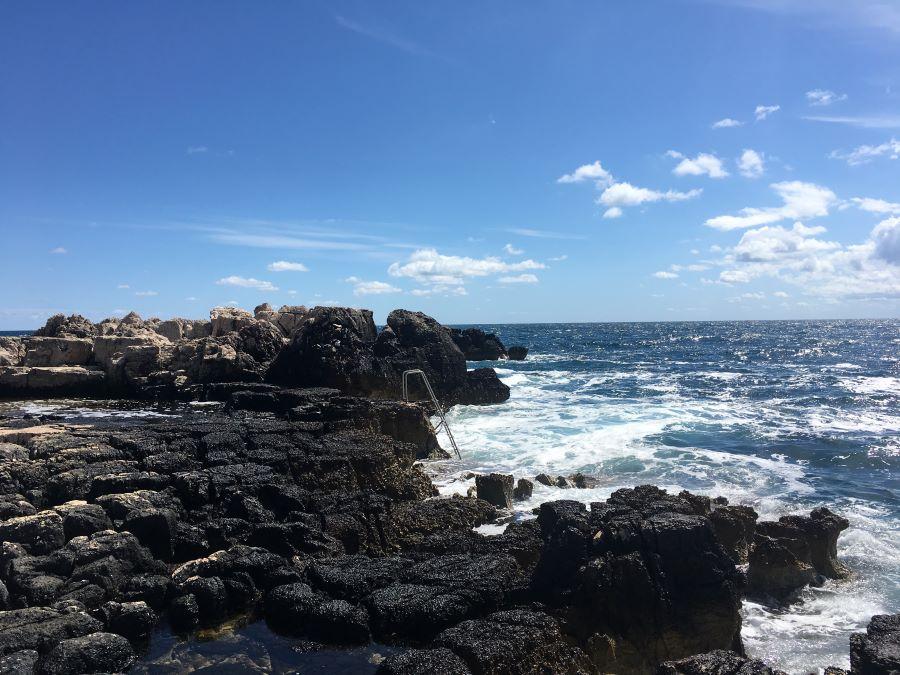 Rocky terrain along the coast of Lokrum Island.