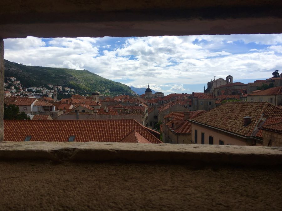 Looking at the Old Town in Croatia from the City Walls