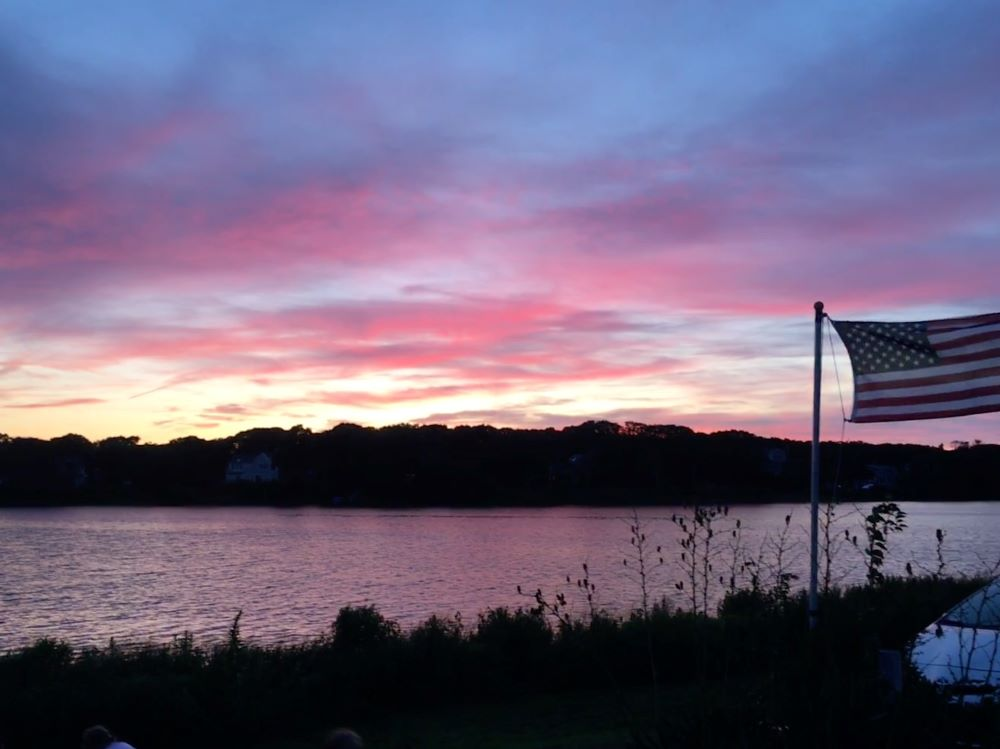 A pink sunset over our accomodations in Falmouth.