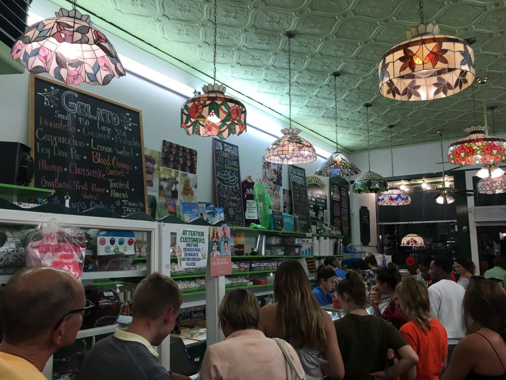 A crowded ice cream shop in Falmouth.